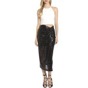 NWT Belle Badgley Mischka Jai Sequin Midi Skirt